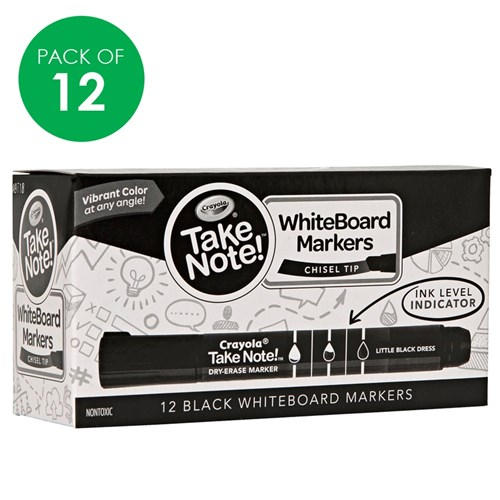 Crayola Whiteboard Markers - Black - Pack of 12