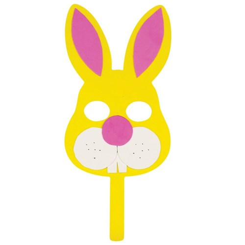 Yellow Wooden & Foam Bunny Mask