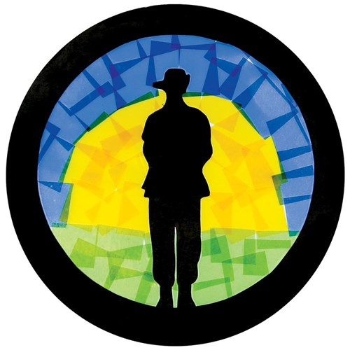 Stained Glass Soldier Silhouette