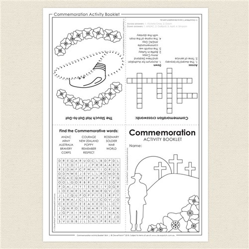 Commemoration Activity Booklet Anzac Day Cleverpatch